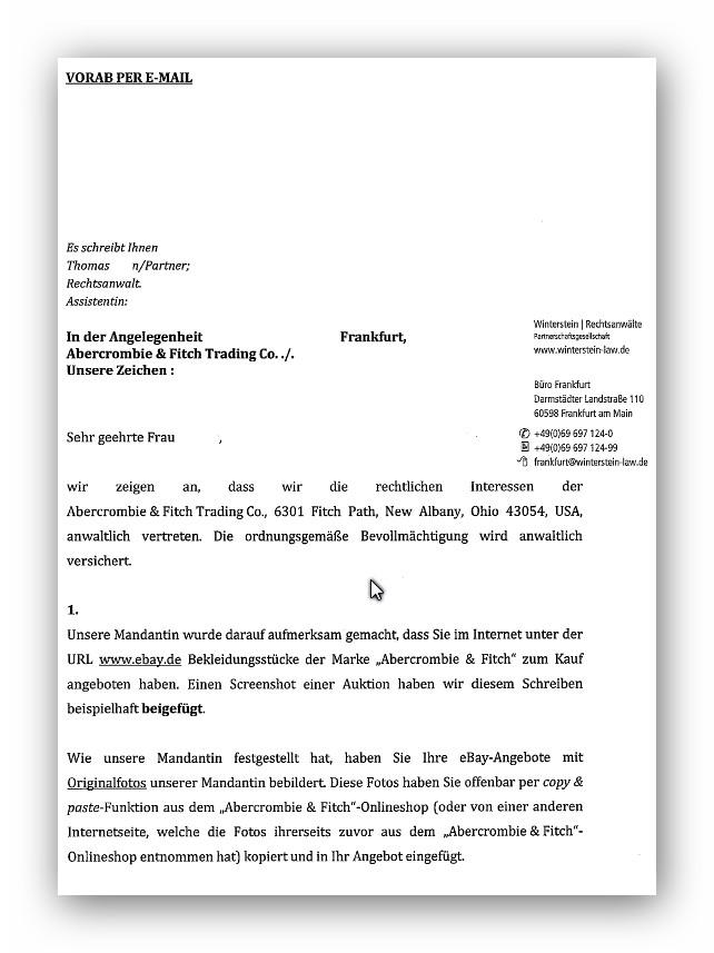 Abmahnung Abercrombie Fitch Kanzlei Winterstein