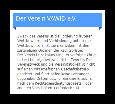 Abmahnung Vawid Ev