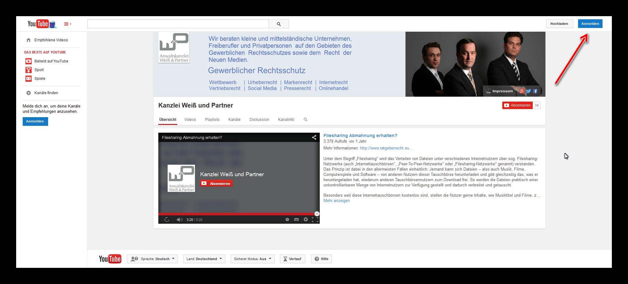 YouTube Impressum erstellen