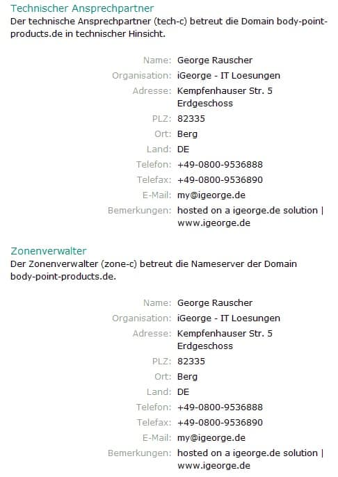 body point products de rauscher